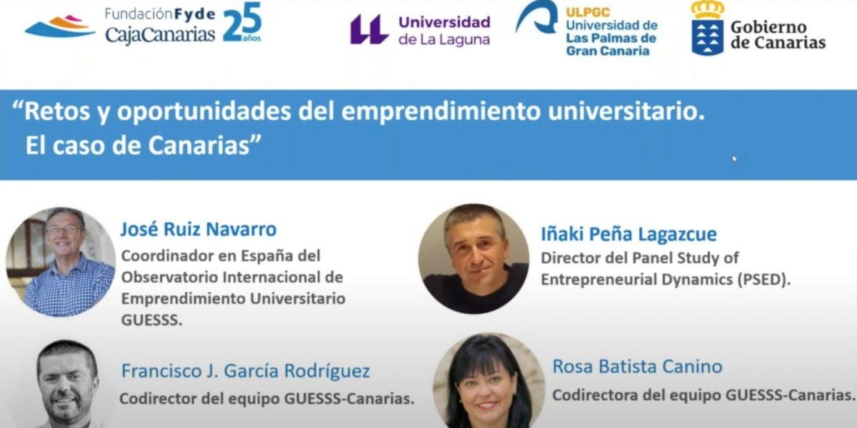 Cartel del evento «Retos y oportunidades del emprendimiento universitario. El caso de Canarias»