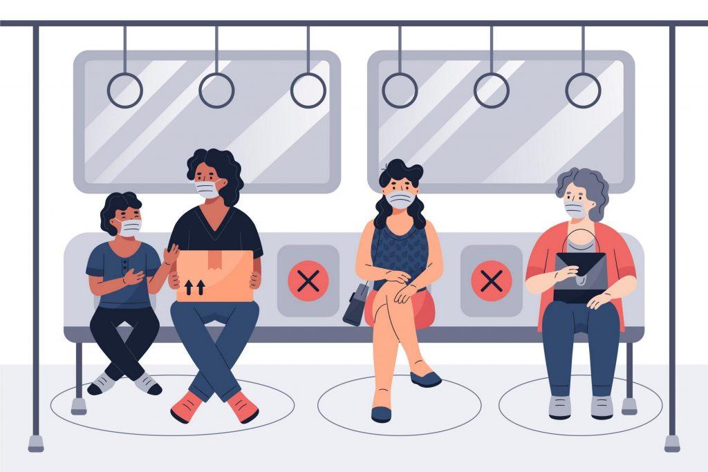 Dibujo de personas en transporte público, con mascarillas